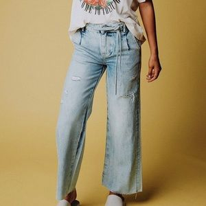 NEW Free People Wide Leg Cropped Jeans